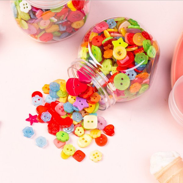 best selling Free shipping Diy manual material child Candy colors color Square Love flower shape baby decoration Button Small button