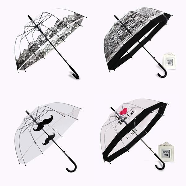 PALONY transparent longue poignée parapluie pluie ultra léger Femmes Enfants Parasol Parapluie semi-automatique Femme Parapluies T200117