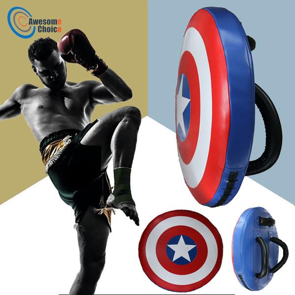 Pied Cible Sport Boxe Coussin Sac Combat Sac De Frappe Durable Boxe Captain America Entraînement Bouclier Muay Thai Kicking Pouch T190720