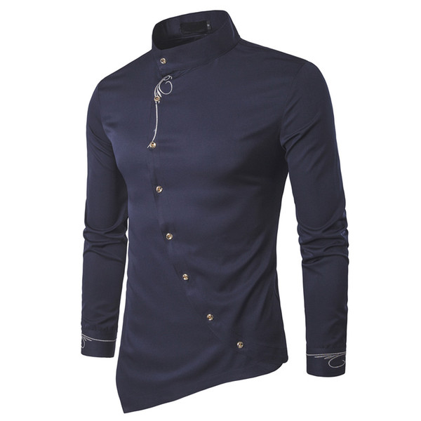 2017 Fashion New Male Shirt Long Sleeve Mens Clothes Oblique Button Dress Shirts Mandarin Collar Men Tuxedo Shirts