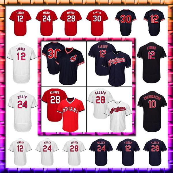 cheaper 7d7da b7726 12 Francisco Lindor Men Cleveland Indians Jersey 24 10 Edwin Encarnacion 30  Joe Carter Baseball Jersey UK 2019 From New_style_jerseys, UK $$20.39 | ...