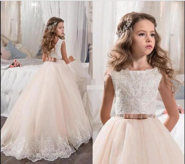 Vintage Çiçek Kız Elbise Düğün İçin Allık Pembe Custom Made Prenses Tutu Payetli Aplike Dantel Yay Çocuklar İlk Communion Abiye