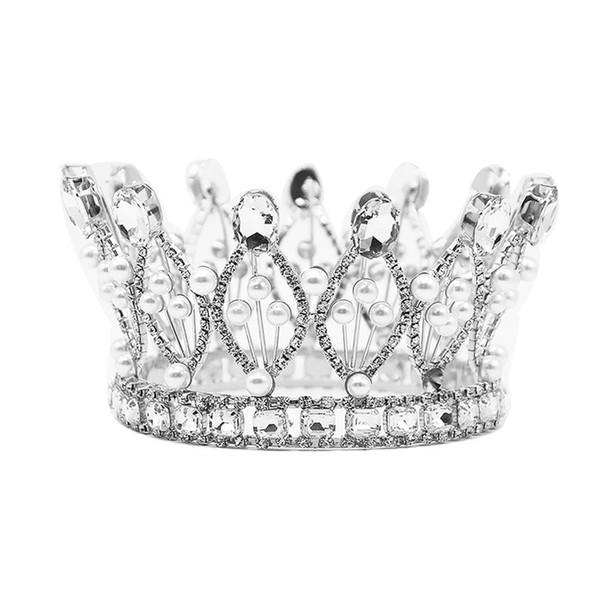 Luxo Vintage Coroa De Casamento De Prata de Ouro Liga de Casamento Tiara De Noiva Barroco Rainha Rei Coroa de Ouro Cor Rhinestone Tiara Coroa JCI104