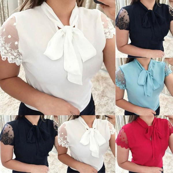 2019 новое прибытие Женские рубашки повседневная работа офис кружева топ галстук-бабочка с коротким рукавом женская шифоновая блузка Camisa Feminina Clothing