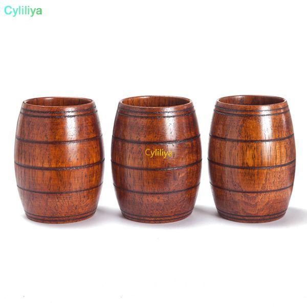 Taza de madera caliente de 10.5 * 6.5 cm Primitiva Hecho a mano Tazas de madera natural Desayuno Cerveza Leche Drinkware Botella de agua para acampar al aire libre