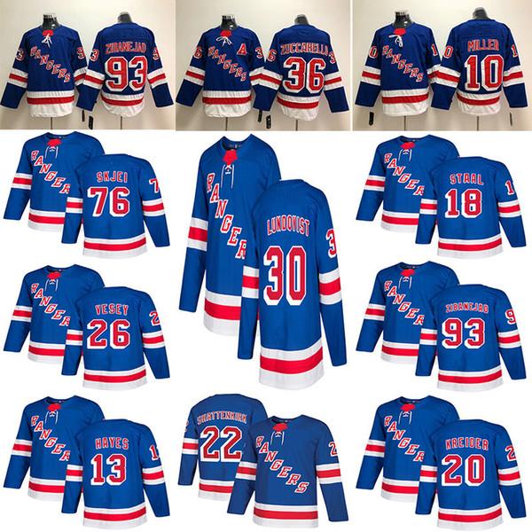 new concept f7cc6 5987a 2019 New York Rangers Hockey Jerseys Hockey 30 Henrik Lundqvist 36 Mats  Zuccarello 76 Brady Skjei 20 Chris Kreider Blue White Jersey From Tavares,  ...