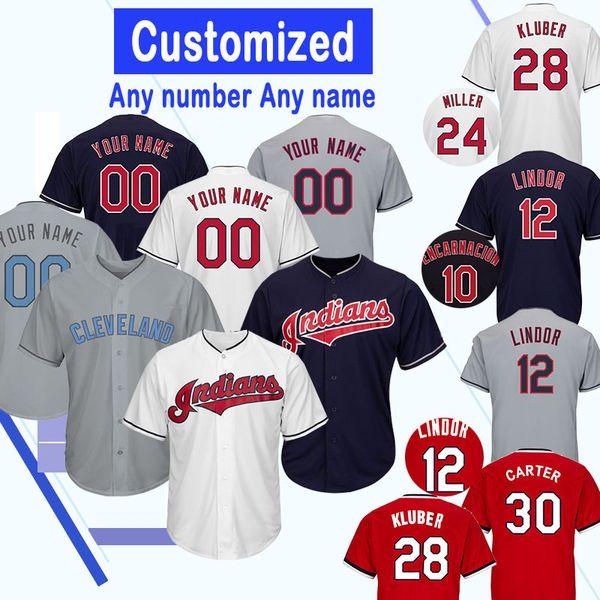 Indios de la camiseta de Cleveland Personalizar 12 Lindor 1 Greg Allen 47 Trevor Bauer 10 Jake Bauers 57 Shane Bieber 59 Carlos Carrasco 90 Adam Cimber