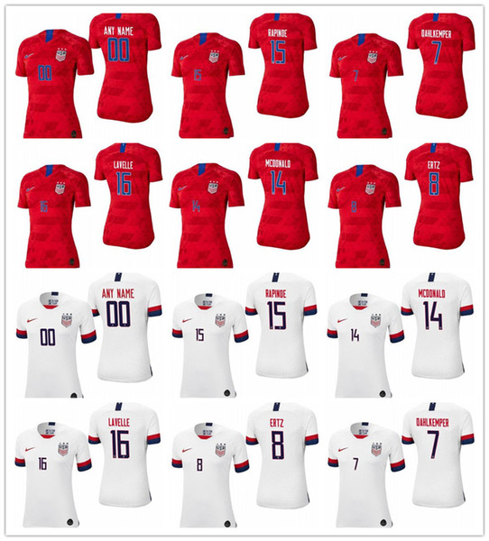 huge discount 9abb8 c5bd0 2019 Women'S Usa 7 Abby Dahlkemper 8 Julie Ertz 14 Jessica Mcdonald 15  Megan Rapinoe 16 Rose Lavelle White Red 2019 Champion World Cup Jersey From  ...