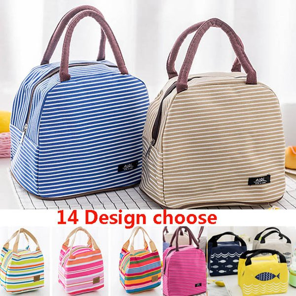 14 Design Lunch Bag Tote Bag Lunch Organizer Handle Insulation Cold Picnic Food Storage Box Thermal Canvas Box CAN Make FBA XD20378