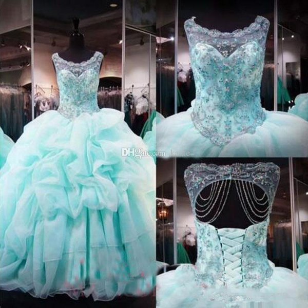 New vestido de baile Light Blue Vestidos Quinceanera Sheer Pescoço Jewel Beads Cristais 16 Prom Vestidos Plus Size Vestidos doces organza Ruffled Evening