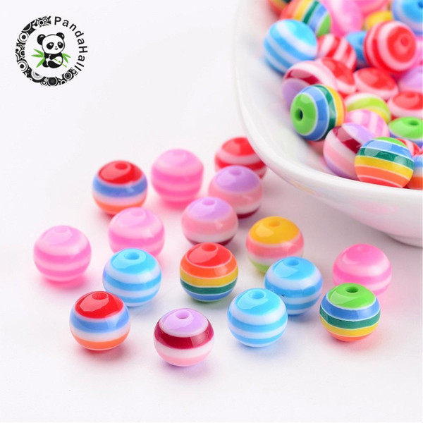 Resin Beads, Round, Lined, Mixed Color, about 8mm in diameter, hole: 2mm