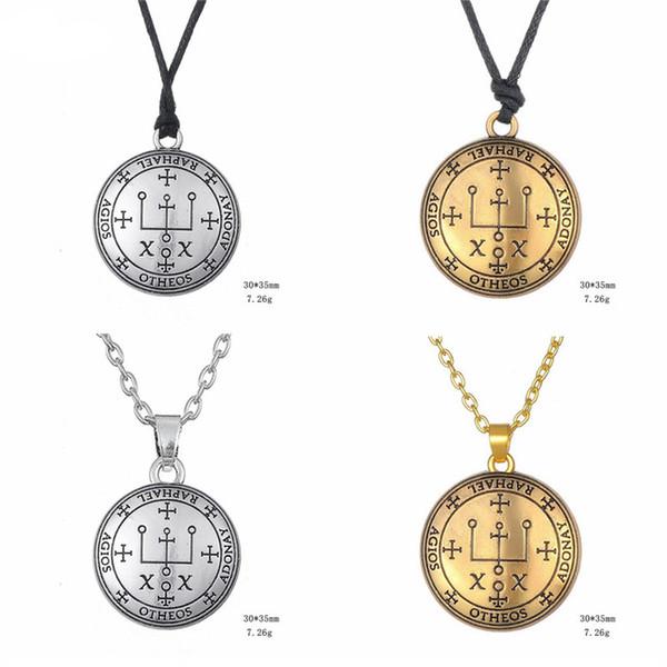 10 UNIDS Plata Y Oro Arcángel Rafael Sello Colgante Talismán Collar de Joyería de Los Hombres de Moda Amuleto Religión Collares joyería