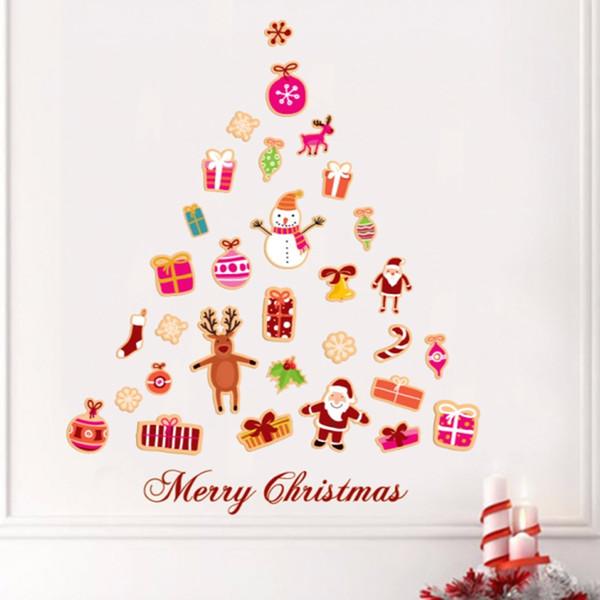 vinilo arbol navidad Compre Dibujos Animados Creativos Encantador Rbol De Navidad Con Hermosos Colgantes Ilustracin Pegatina Vinilo Impermeable Pared PVC Calcomana