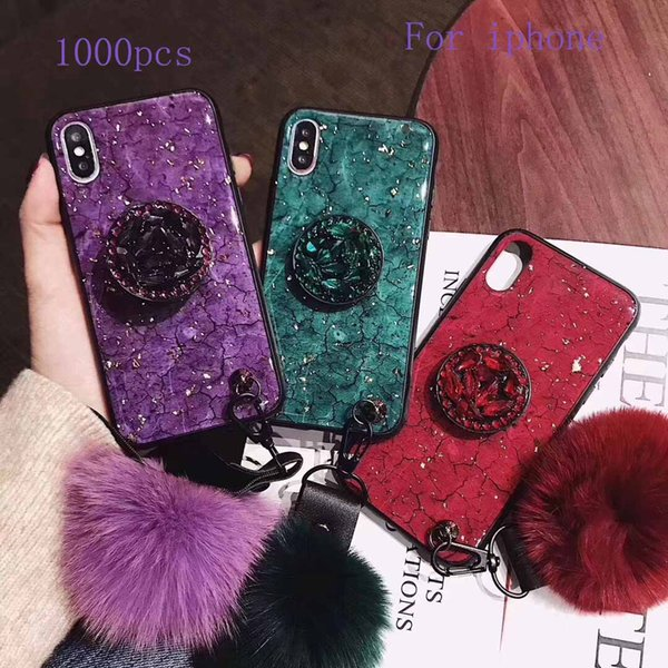 100 Marble Stone Phone Case for iPhone XS MAX XR X 8 7 6S Plus Soft TPU phone cases with Bracket Airbag Bracket Fox Fur Ball Phone Case ForX