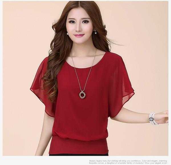 Yeni Bayan Moda Kadınlar Yaz Şifon Bluz Tops Artı Boyutu Fırfır Batwing Kısa Kollu Casual Gömlek Siyah Beyaz Kırmızı Mavi