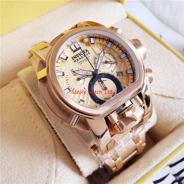 Real oringal 3A TOP quality 25210 INVICTA Bolt Men 52mm Gold Stainless Steel + Stainless Steel Titanium dial 5040.D Quartz watches