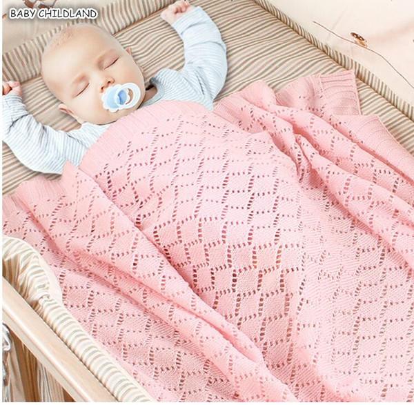 Newborn Baby Blankets Summer Breathable Cotton Muslin Crochet Knitted Baby Blanket Swaddle Wrap Bedding Sofa Stroller blanketMX190910
