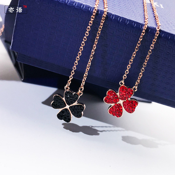 HQ Black Crystal Red Zircon Double-sided Four-leaf Clover Collana Donna Titanium Steel Rose Gold Clavicle Chain Pendant Primavera ed Estate