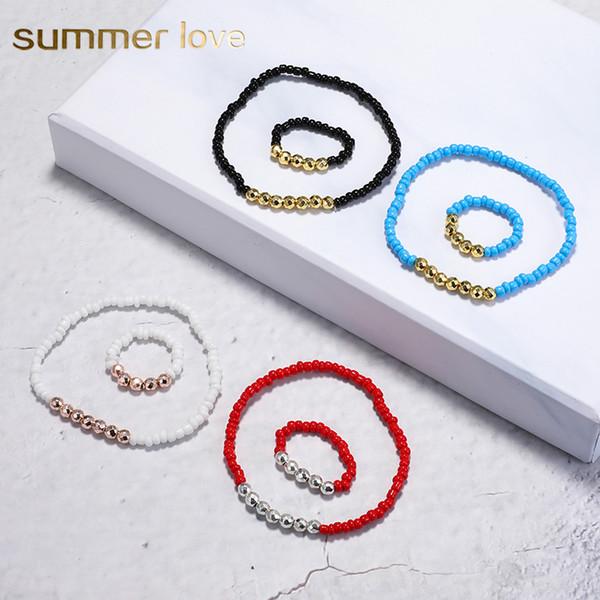 Nouvelle Mode Pierre Naturelle À La Main Perlé Bracelets Anneau Ensemble pour Les Femmes Tressé Réglable Perles De Riz Yoga Bracelets Bijoux De Mode