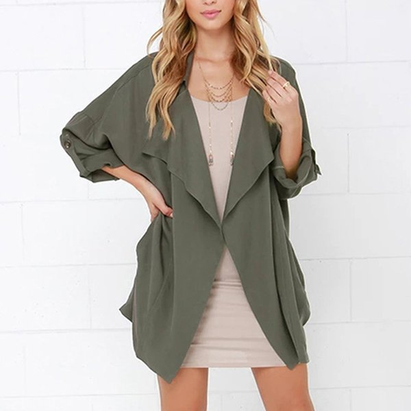 new women's british style coat seven-quarter sleeve solid color trench coat loose casual cardigan female autumn windbreaker