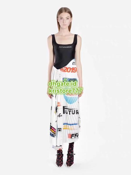 Mulheres Moda Designer De Luxo Letra Carta Tops T-Shirt Da Camisa de Vestir Saia Plissada Vestido Ocasional Feminino Runway Camiseta Camisolas Tops