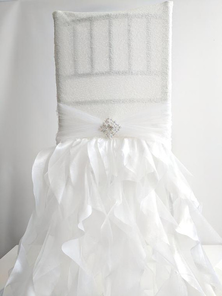 Custom Made Ruffles Crystals Sequined Wedding Chair Covers Beautiful Cheap Wedding Party Decorations Vintage Chair Sashes Supplies C02