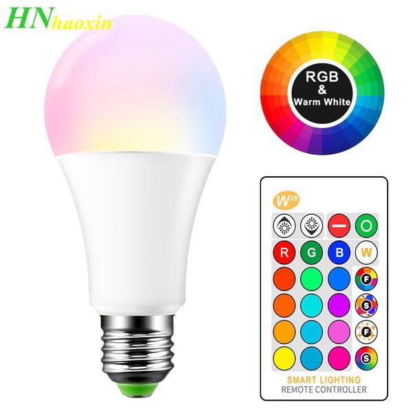 top popular HaoXin E27 B22 16 Color Changing RGB Magic Led Bulb 3 5 10W 85-265V RGB Led Lamp Spotlight + IR Remote Control Smart LED Bulbs 2020