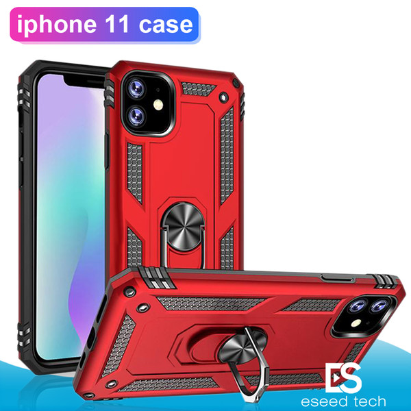 Nuovo per Iphone 11 Pro X XS Max Hybrid Robusto Custodia antiurto per armatura Stand per Samsung NOTE 10 S10 Plus Anello magnetico Custodia in metallo Supporto per auto