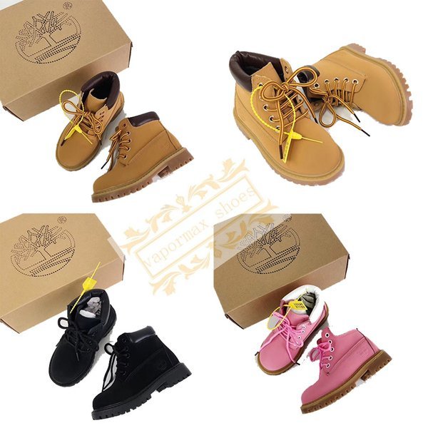 Timberland Baby Shoes Waterproof Shoes Designer Boots Sports Running Shoes Men Women Yellow Black Pink Sneakers Trainers With Box 26 34 Mens Boots