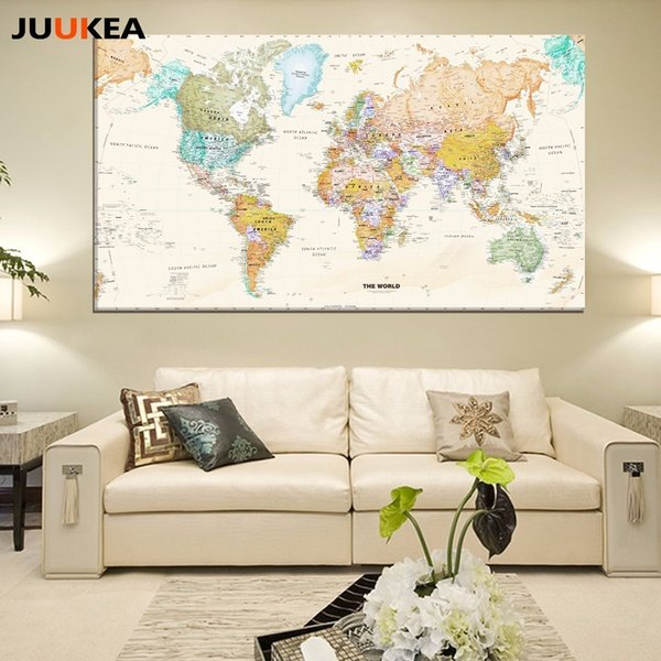 Hot Sale Classic World Map No Frame Canvas Painting Art Vintage Poster Wall Picture Nordic Home Decoration Living Room J190707