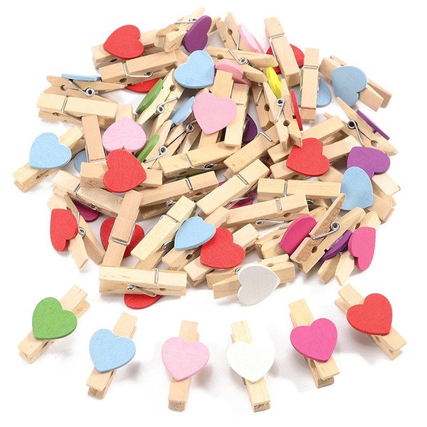 Mini Wooden Love Heart Pegs Photo Paper Clip Wedding Decor Craft (Mixed)