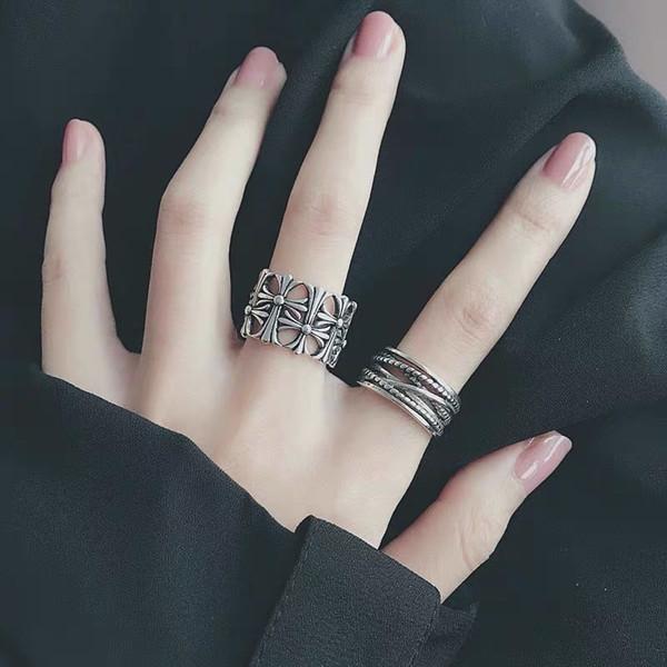 commercio all'ingrosso freddo misto tribale gotica signora / uomo intagliato di alta qualità vintage anticato barocco argento anelli di moda