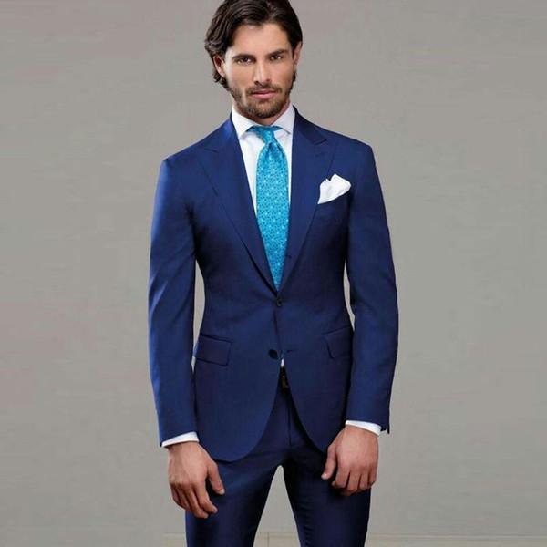 Men Suits For Wedding Suits Royal Blue Custom Made Bridegroom Groomsmen Slim Fit Formal Groom Wear Best Man Jacket Tuxedos Blazer 2Pieces