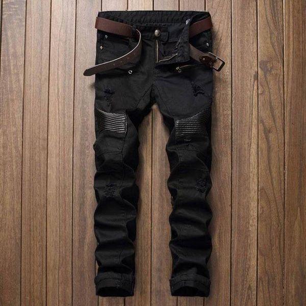 Designer de moda Mens Rasgado Motociclista Calças De Brim De Couro Patchwork Slim Fit Moto Preto Denim Corredores Para Calças Jeans Masculinos Afligido