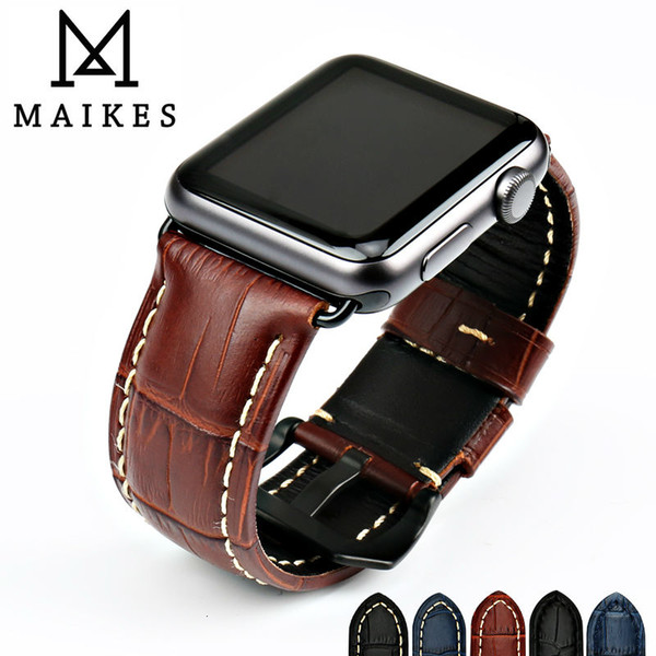 MAIKES watchbands genuine cow leather watch strap for Apple Watch Band 42mm 38mm series 4-1 iwatch 4 44mm 40mm watch bracelet LY191206
