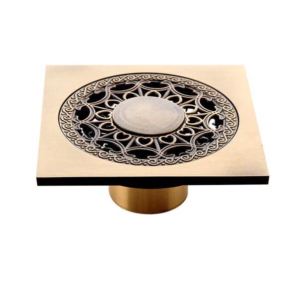 Shower Drains 10cm Square Brass Gold Bathroom Floor Drain Balcony Deodorant Bath Drain Strainer Cover Waste Grate
