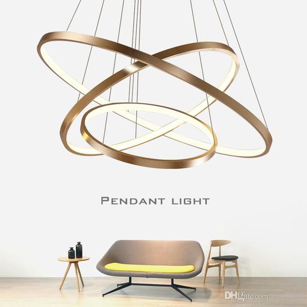 Ouro Preto Branco Lustre Moderno Led Luzes Pingente Para Sala de estar Sala de Jantar Pendurado Lâmpada LEVOU Luminárias de Teto Luminária