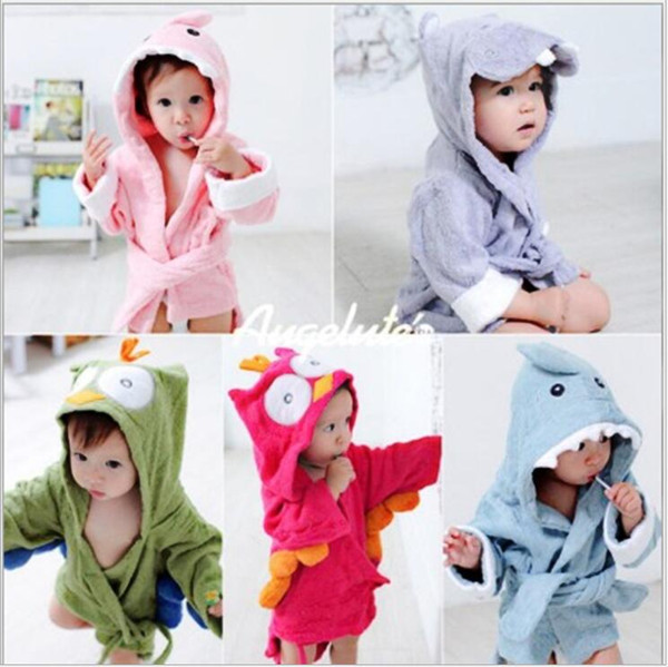 best selling Kids Animal Bathrobe Hooded Robes Shark Fox Cartoon Nightgown Mouse Owl Children Towels Pajamas Bathrobes Home Nightdress 22 Styles C6847