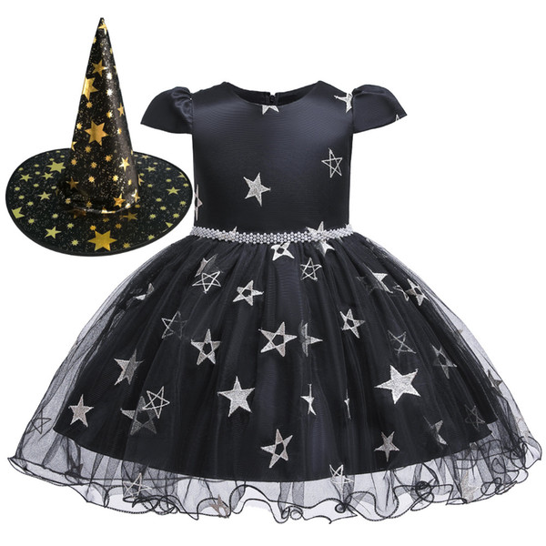 Child Girl Halloween Child Witch Dress Witcher Black Mesh Show Cosplay Dress Princess Dress and Hat