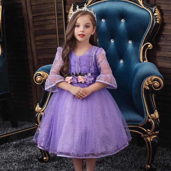 Prenses Giydirme Kız Gelin fello ait ÇOCUK Tam Elbise Yarım kollu Gömlek Tutu Doğum Çocuk Düğün Kostüm Elbiseler
