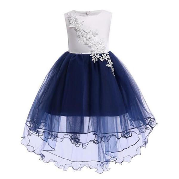 Compre Nueva Girls Flower Tails Vestidos De Fiesta De Princesa Para Niños Ropa De Fiesta Para Bebés Niñas Ropa Elegante Vestido Azul Blanco Para 100