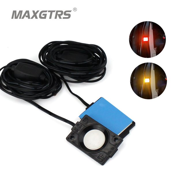 2x Car Red Yellow LED Strobe Door Open Warning Signs Light Signal Anti LED Flash Light Decorative Indicator Anti-collision Lamp