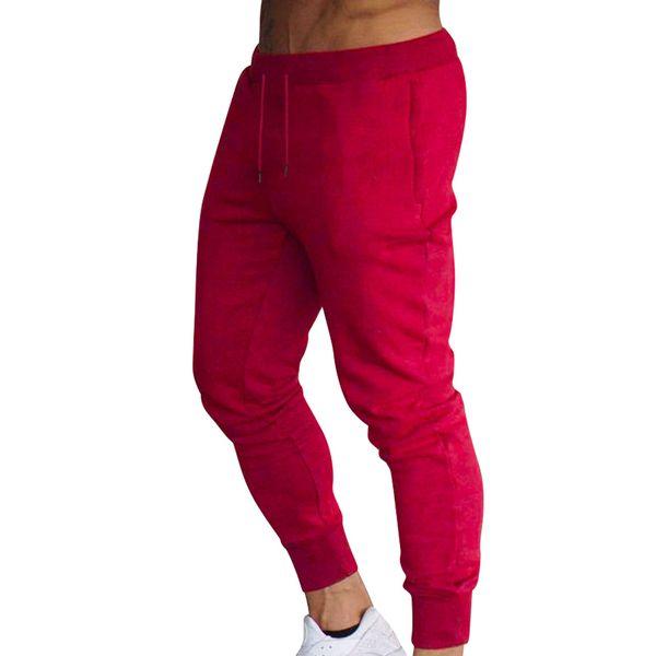 Men Slim Fit Solid Color Pants Trousers Drawstring Casual for Jogging Sport QL Sale