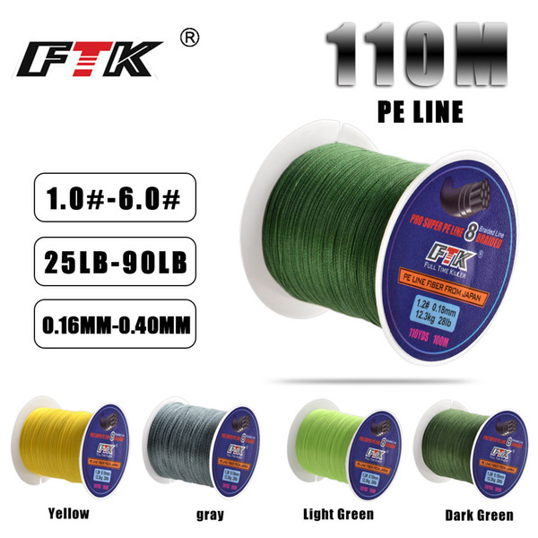 FTK 100m Fishing Line 25-90LB 1.0#-6.0# 8 Braided Line Smooth Multifilament PE Fishing for Saltwater