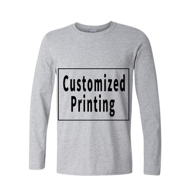 Uzun Kollu Pamuk Özel Erkek T Shirt Kişilik Fotoğraf Resim Logo Baskılı Özel Baskı Tee Gömlek Ücretsiz Kargo
