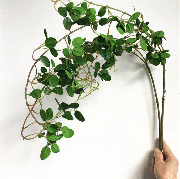 Luxury Long Ficus Tree Twig Artificial Flowers Eucalyptus Plastic Fake Plants Green Leaves Wedding Decoration Faux Foliage Vine