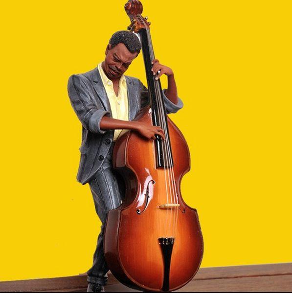 top popular Double Bass Sculpt Statue Modern Musicians Figure Resin Room Decoration Musician Souvenir 2021