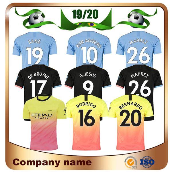 19/20 Man #10 KUN AGUERO Home Soccer Jersey 2019 Away City MAHREZ DE MAHREZ BRUYNE SILVA JESUS SANE 3rd Football shirt Uniform