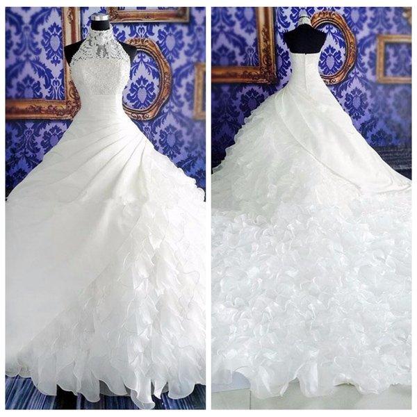 Retro Vestido de fiesta Halter Cuello alto Vestidos de novia Organza Ruffles Vestidos de novia 2019 Sin mangas Vestidos personalizados de matrimonio Vintage
