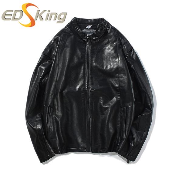 Hommes Col haut Fermeture à glissière en cuir PU 50% coton 50% Veste couleur unie Homme Mode Biker Peinture homme Vestes en cuir Manteau de moto